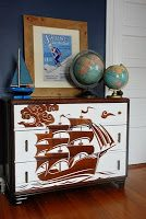 Painted Furniture: Reverse Stencil = Blue Ribbon