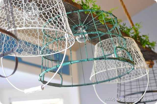 Home tour 2013 all things thrifty - Wire basket chandelier ...