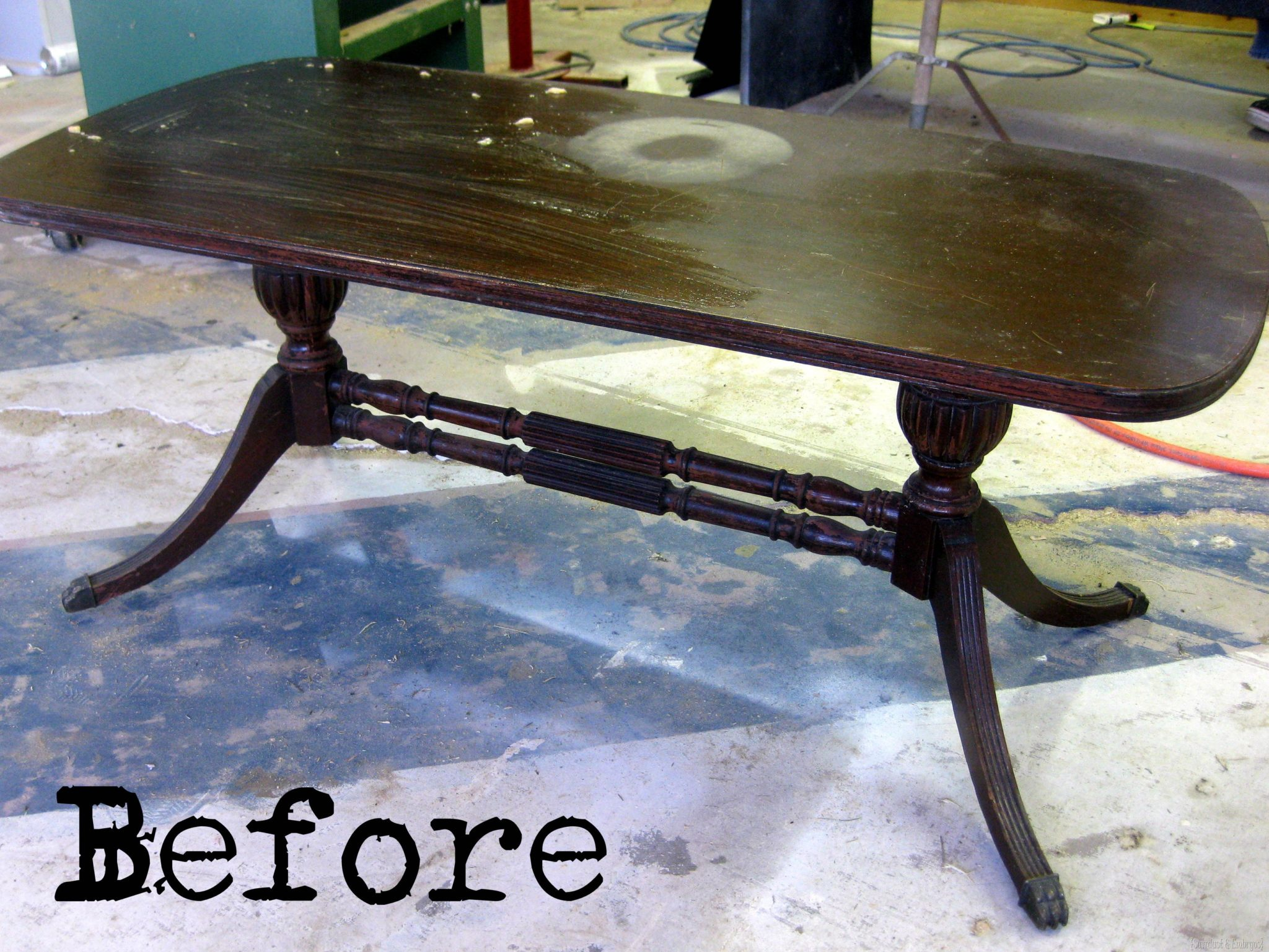 stencilled & distressed coffee table {by sawdust and embryos}
