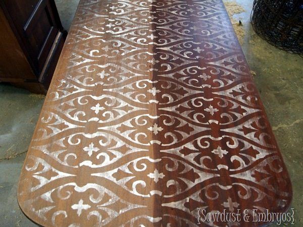 Stencilled & Stained Table {Sawdust and Embryos}