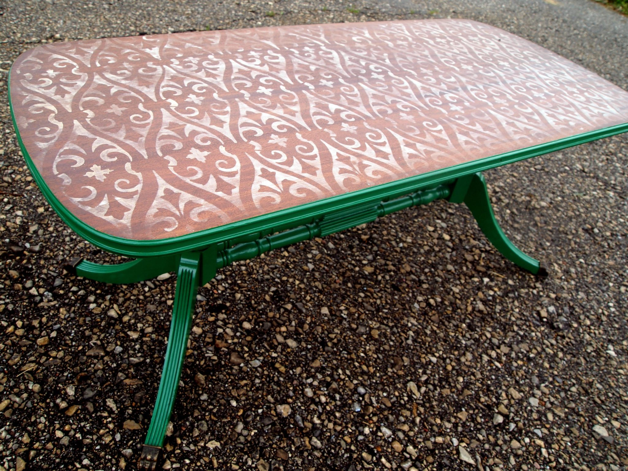 Unique Stencilled and Distressed Coffee Table by Sawdust u Embryos