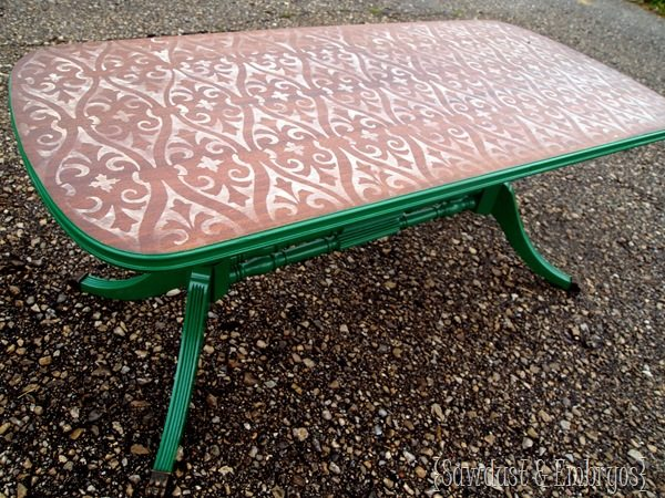 Stencilled and Distressed Coffee Table (by Sawdust & Embryos)