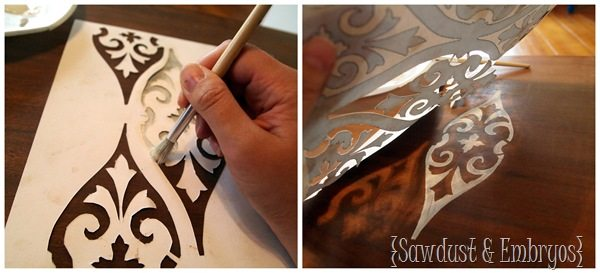 Stencilling a coffee table {Sawdust and Embryos}