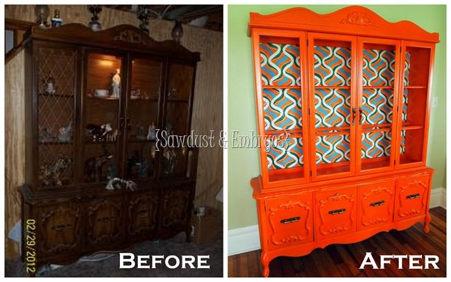 China Cabinet Transformation (with hand-painted backboard) sawdustandembryos.com