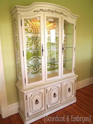 Green Paisley China Cabinet {Sawdust and Embryos}