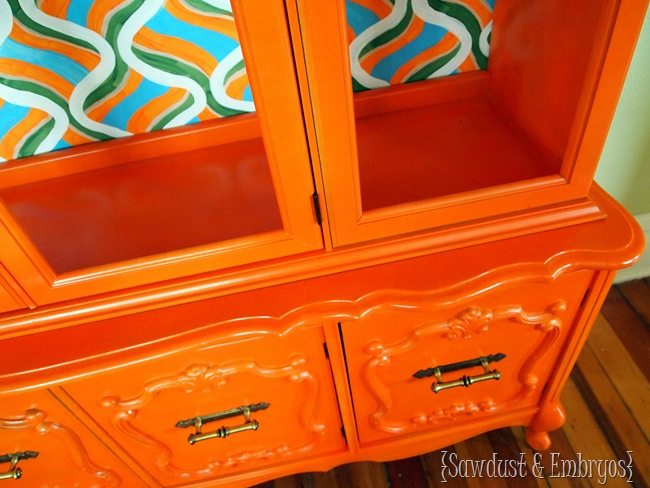 Shocking Orange China Cabinet Overhaul {Sawdust and Embryos}