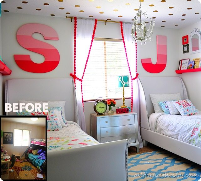 Coral Gold and Aqua Girl's Bedroom Reveal