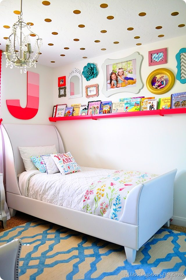coral gold and aqua girl s bedroom reveal