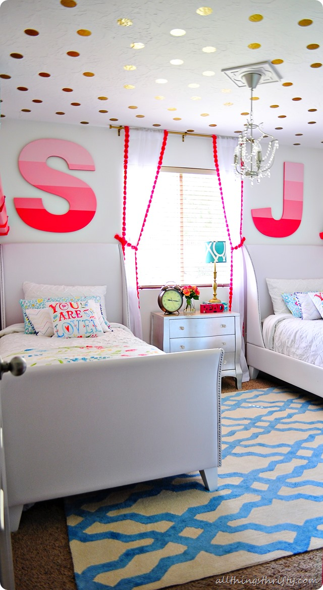 . Coral  Gold  and Aqua Girl s Bedroom Reveal    All Things Thrifty