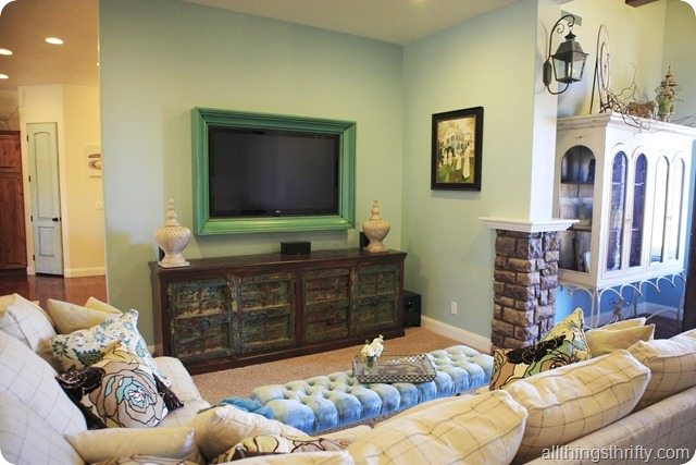 How to build a tv frame tutorial all things thrifty How to decorate a cottage living room