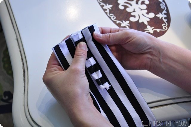 folding the fabric for jersey headband tutorial