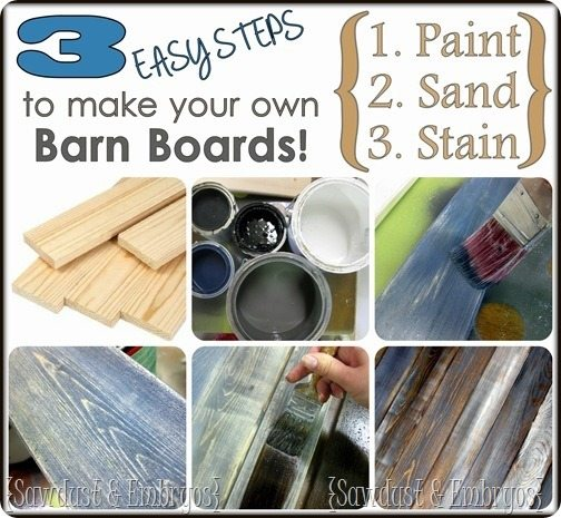 DIY Distressed 'Barn Board' Tutorial {by Sawdust and Embryos}