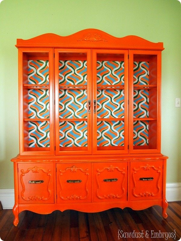 Retro-Orange-China-Cabinet-with-Handpainted-Backboard-Sawdust-and-Embryos