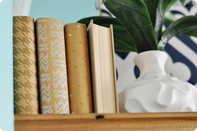 Decorating With Books How To Recover Books With Paper All Things Thrifty