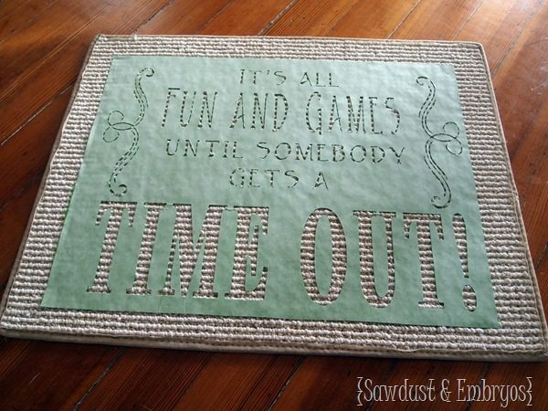 Using Vinyl as a Stencil ~ Time-Out Mat! {Sawdust and Embryos}