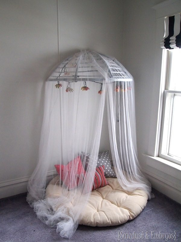 Canopy made from a papasan chair {Sawdust and Embryos}