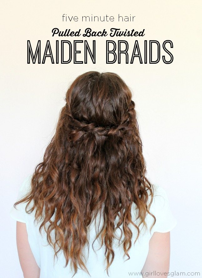 Five Minute Pulled Back Twisted Maiden Braids Tutorial