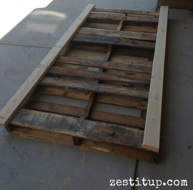 attach two pallets with a 2X4