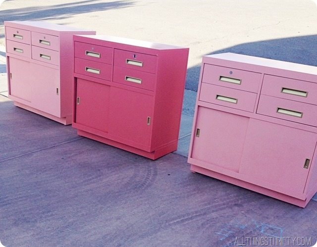 coral and peach filing cabinets