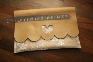 Lace Leather Clutch