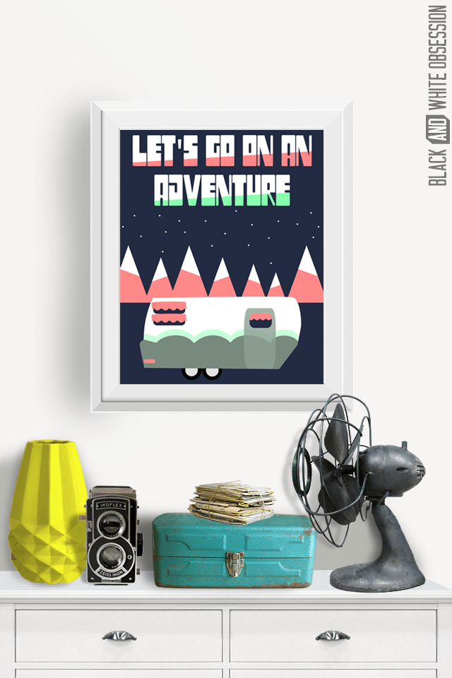 Free Printable Camping Wall Art | All things Thrifty contributor Trisha D from Black and White Obsession