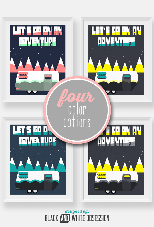 FREE Printable Camping Wall Art, four color options | All things Thrifty contributor Trisha D from Black and White Obsession