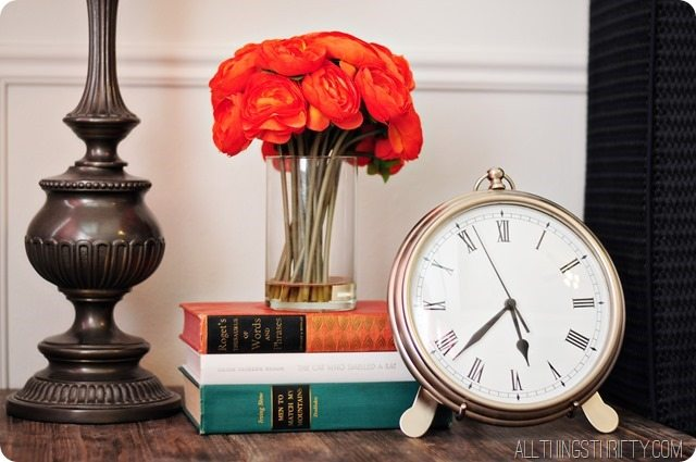 books-flowers-clock