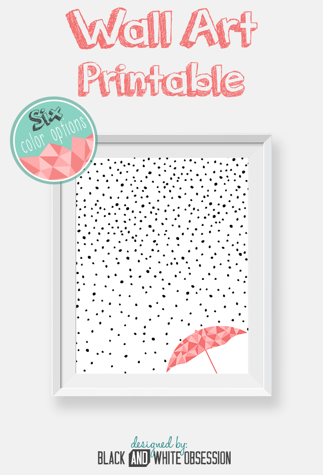 Free Printable: Black and White Rain and Snow Wall Art | All things Thrifty contributor Trisha D from Black and White Obsession