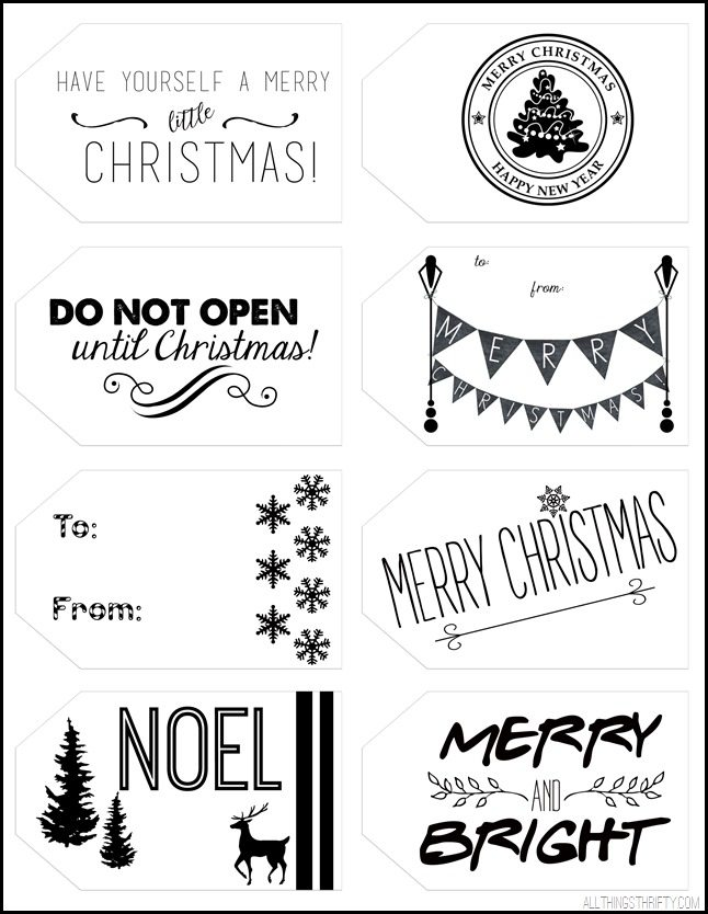 graphic about Printable Christmas Tags Black and White identified as Printable Xmas Reward Tags