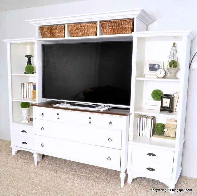 Turning an old dresser and bookshelves into a media center for Media center with bookshelves