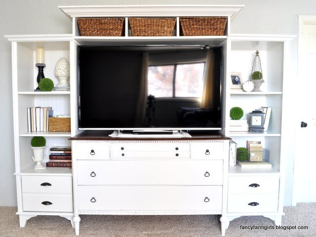 Turning An Old Dresser And Bookshelves Into A Media Center | All Things  Thrifty