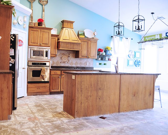 Flooring reveal home legend barrett distressed hickory for Kitchen without tiles