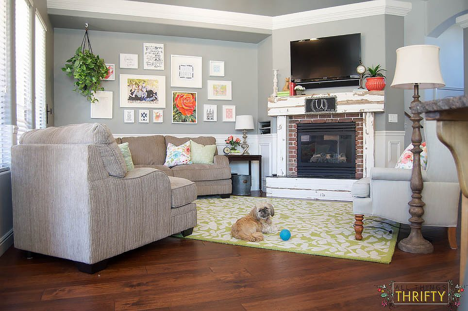 Coral and green great room reveal - Decorative things for living room ...
