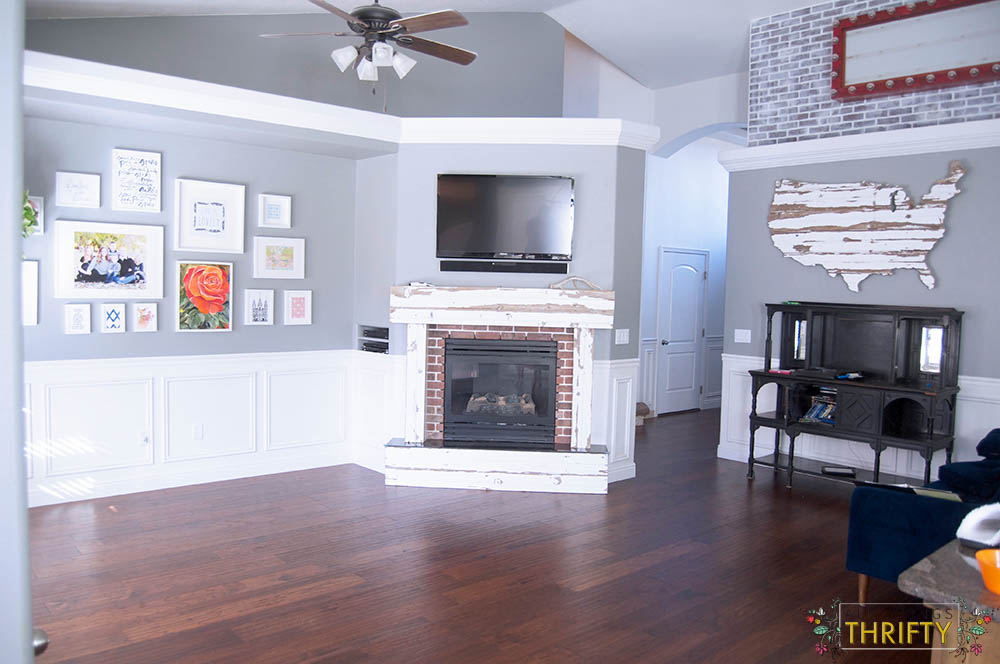 Living Room Barrett Distressed Hickory Flooring from Home Depot