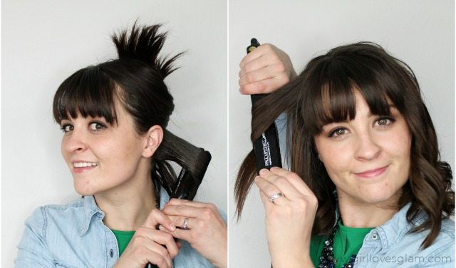 Curling hair with flat iron by www.girllovesglam.com