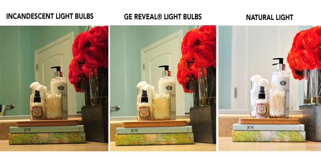 Bathroom Makeover from Yucky Tan to Bright and Airy:GE Reveal Light Bulb makeover 6,Lighting