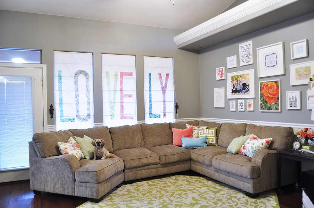 diy roman shades tutorial all things thrifty. Black Bedroom Furniture Sets. Home Design Ideas
