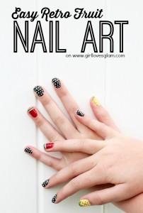 Easy Retro Fruit Nail Art