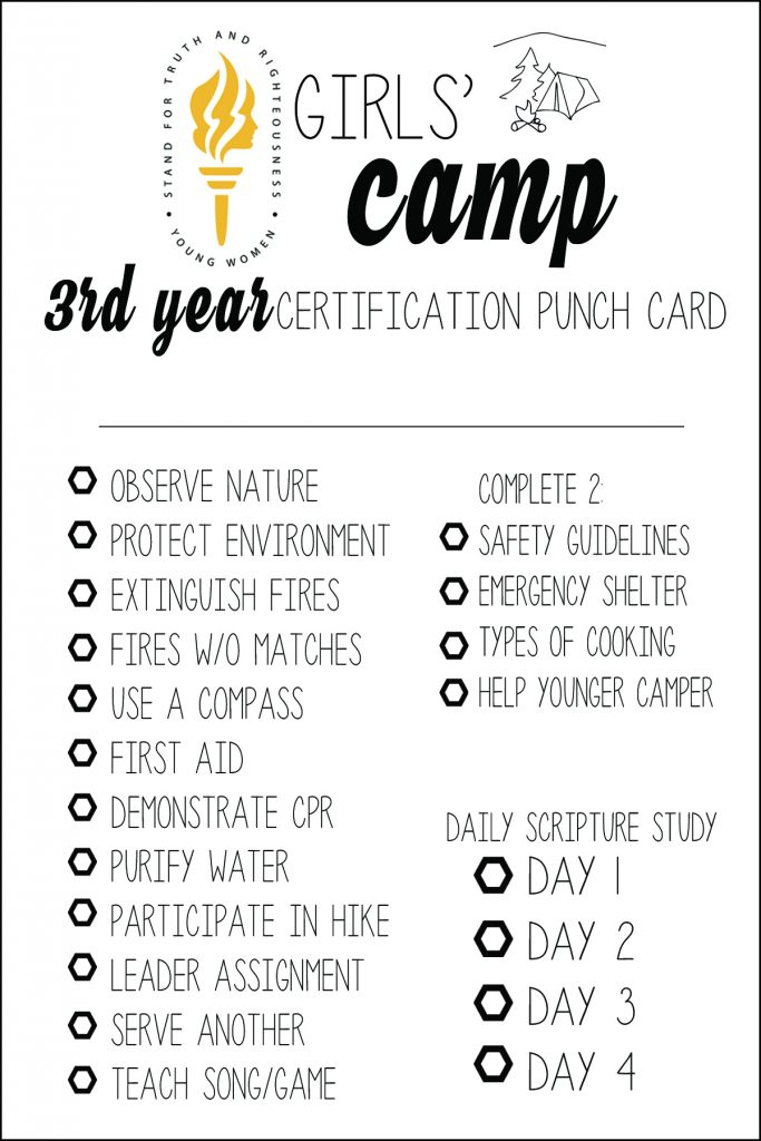 lds girls u0026 39  camp certification punch cards  free printables