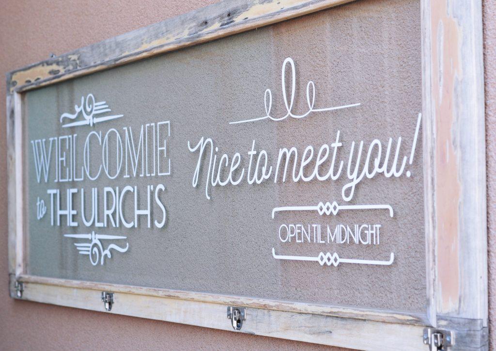 welcome sign by front door