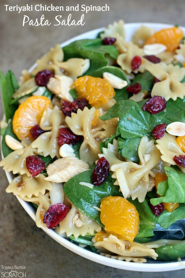 Teriyaki Chicken and Spinach Pasta Salad from TastesBetterFromScratch.com