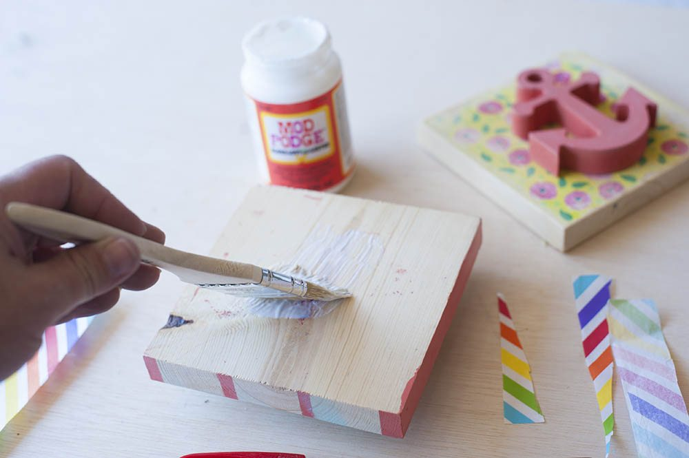 mod podge tissue paper to wood