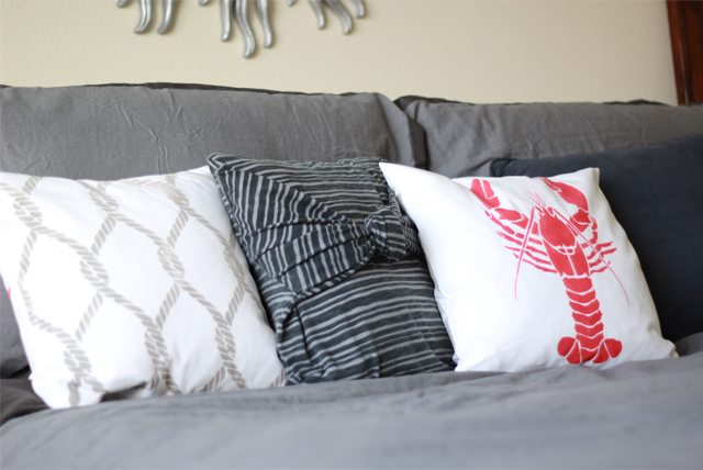 nautical stenciled pillows using chalk paint