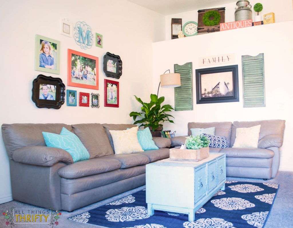 Colorful Living Room Photo Gallery Wall