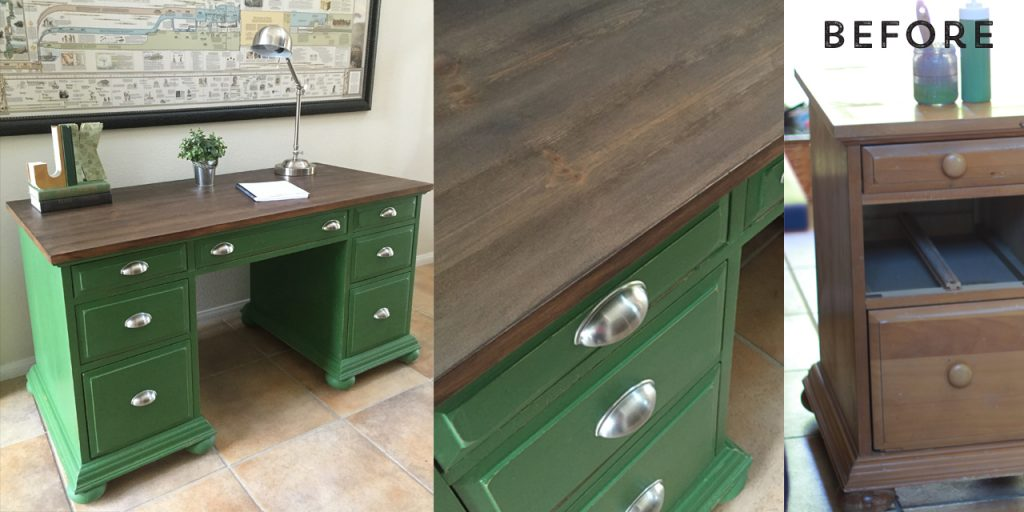FURNITURE  ATT Faux Stain Green Desk Combined. Faux Stain with Chalk Paint
