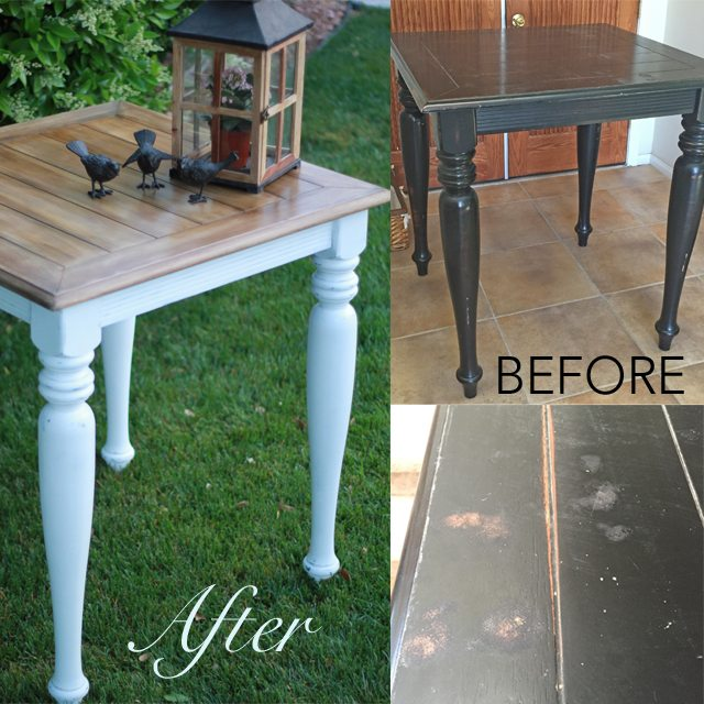 Weathered Wood Table Before and After