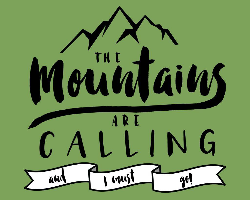 mountains printable green
