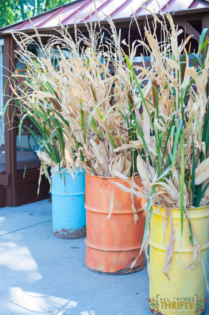 Fall Outdoor Decor Ideas With Fall Barrels All Things