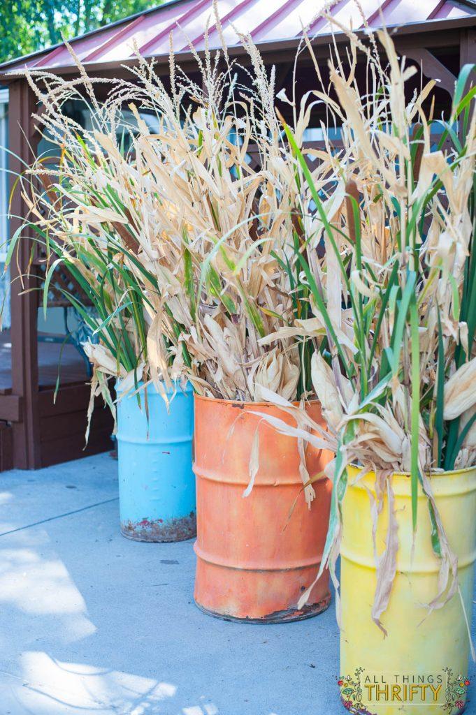 Fall Buckets outdoor fall decor