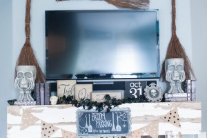 Neutral Halloween Mantle Ideas Broom Parking 25 cents